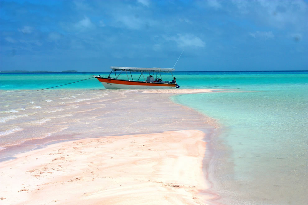 Beautiful pink sand beach in the great lagoon of Rangiroa, French Polynésia