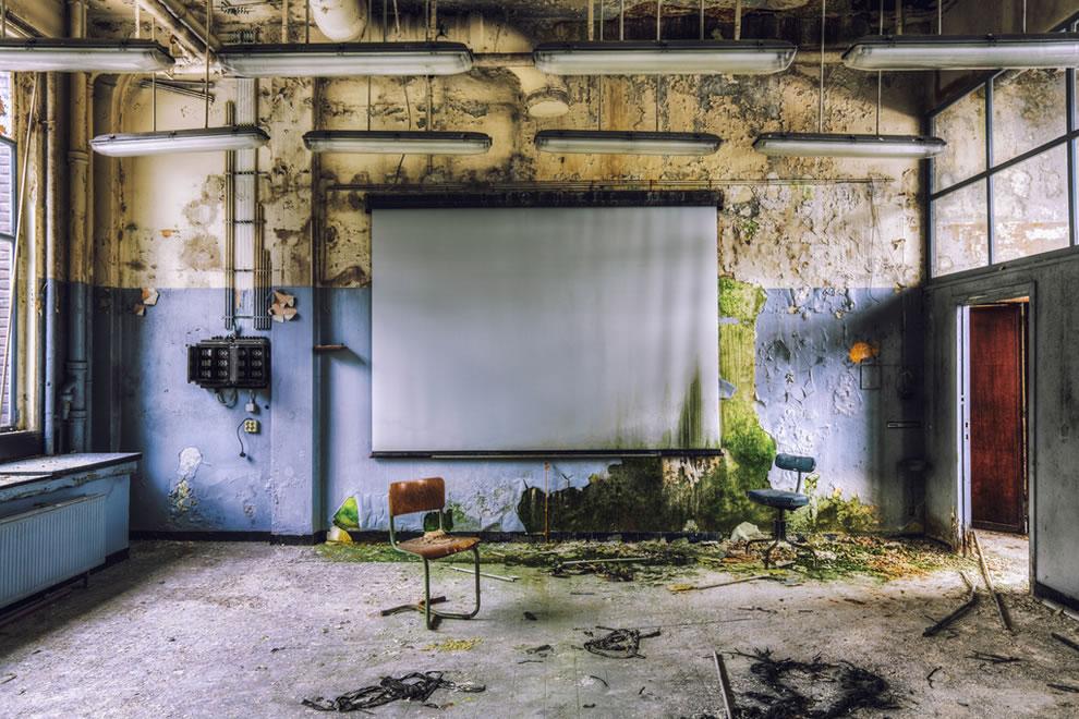 Decaying university slide show in Belgium