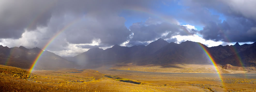 Denali Double Rainbow Panorama