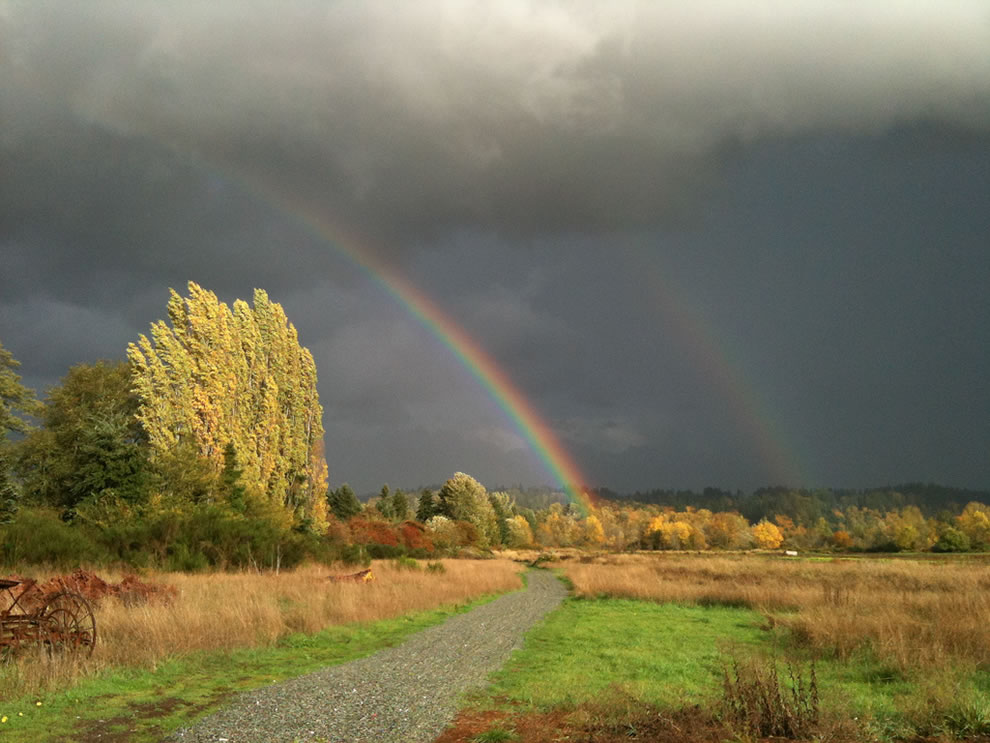 Double Rainbow in stormy skies of Redmond Washington