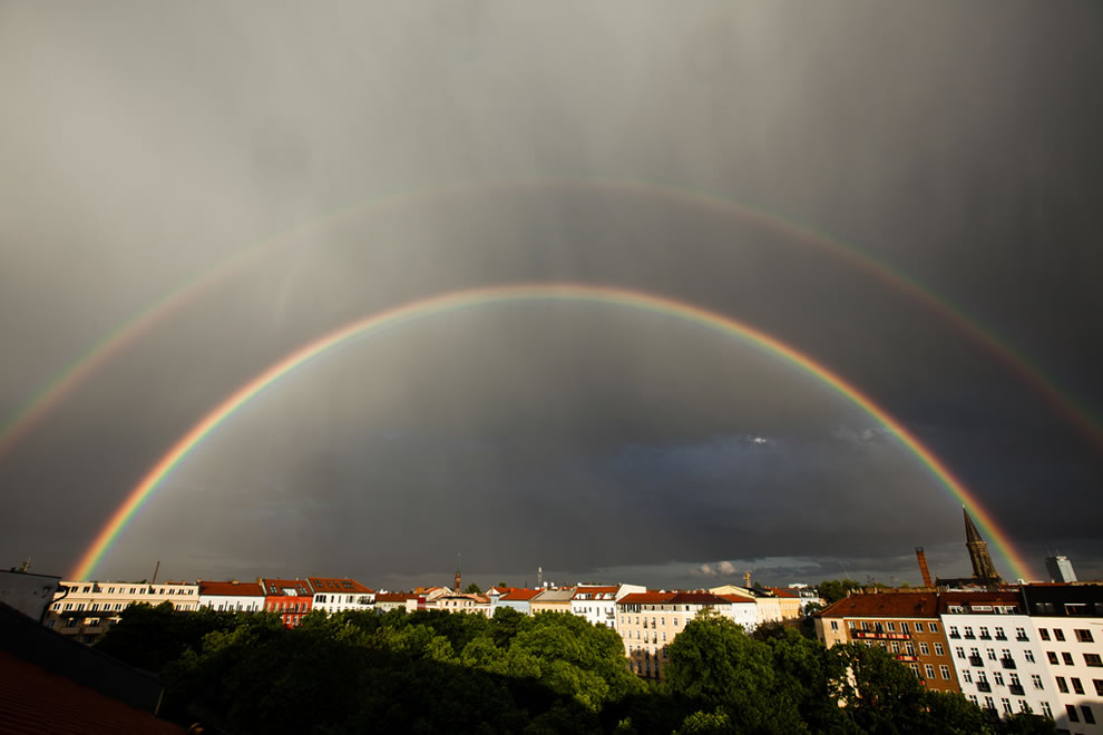 Double rainbow out of my window over Arkonaplatz, Germany