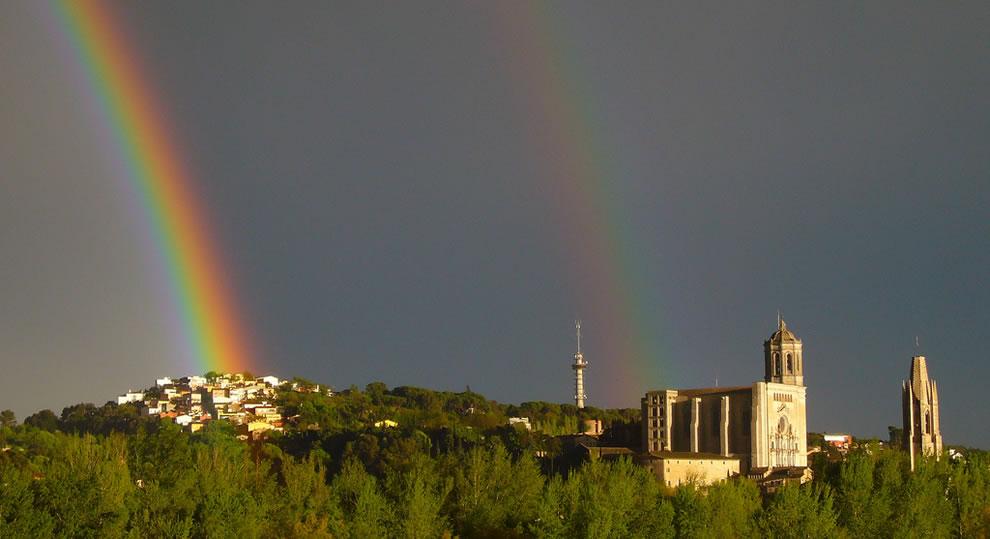 Girona, Spain, under a double rainbow