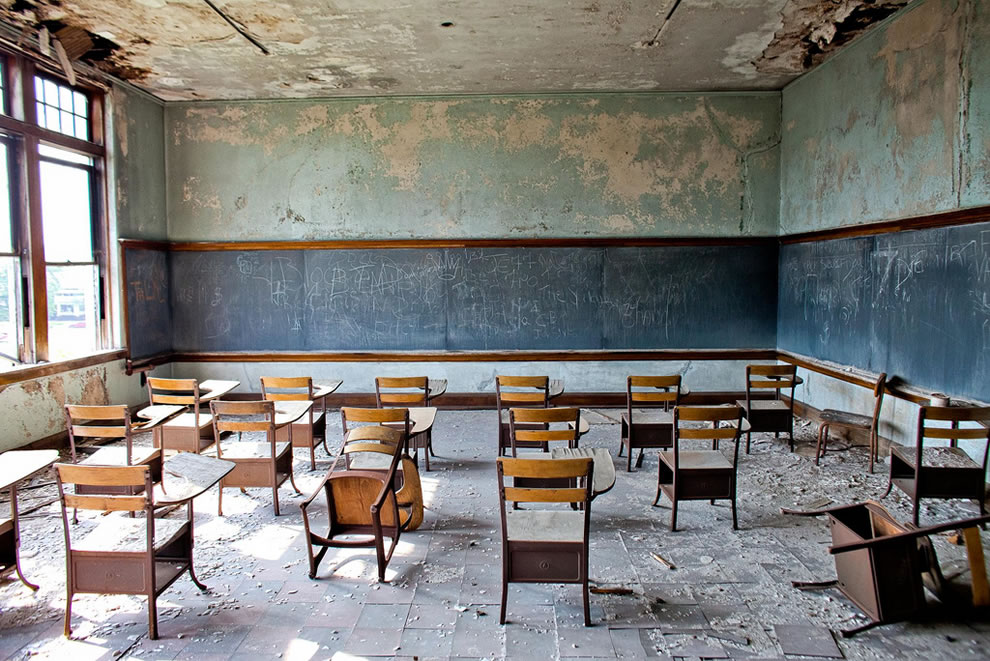 Hey, Teachers, Leave Them Kids Alone, abandoned school classroom in Detroit