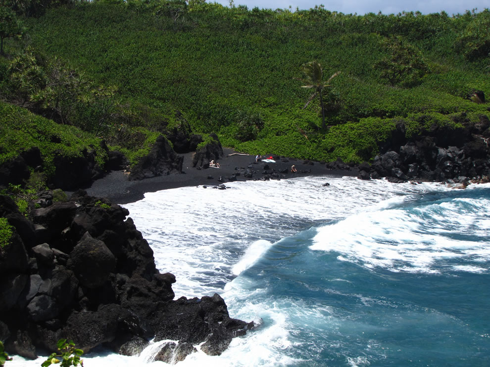 Most famous Black Sand Beach at Waianapanapa Beach in Maui