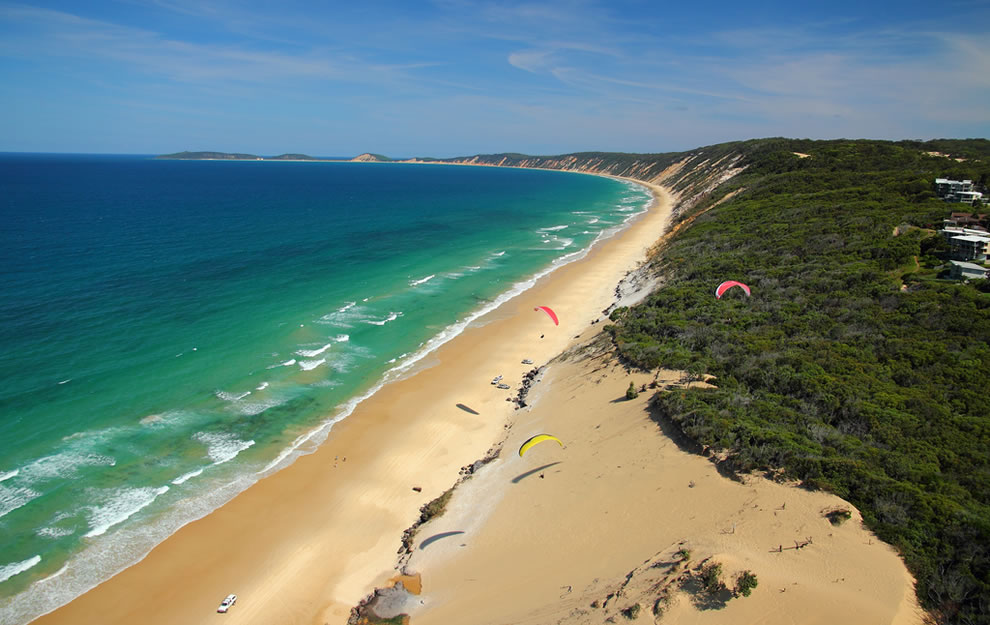 Paragliding over Rainbow Beach in Queensland, AU
