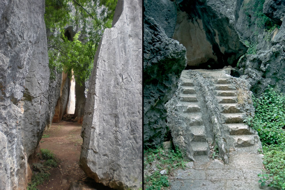 Path and steps through Shilin Stone Forest