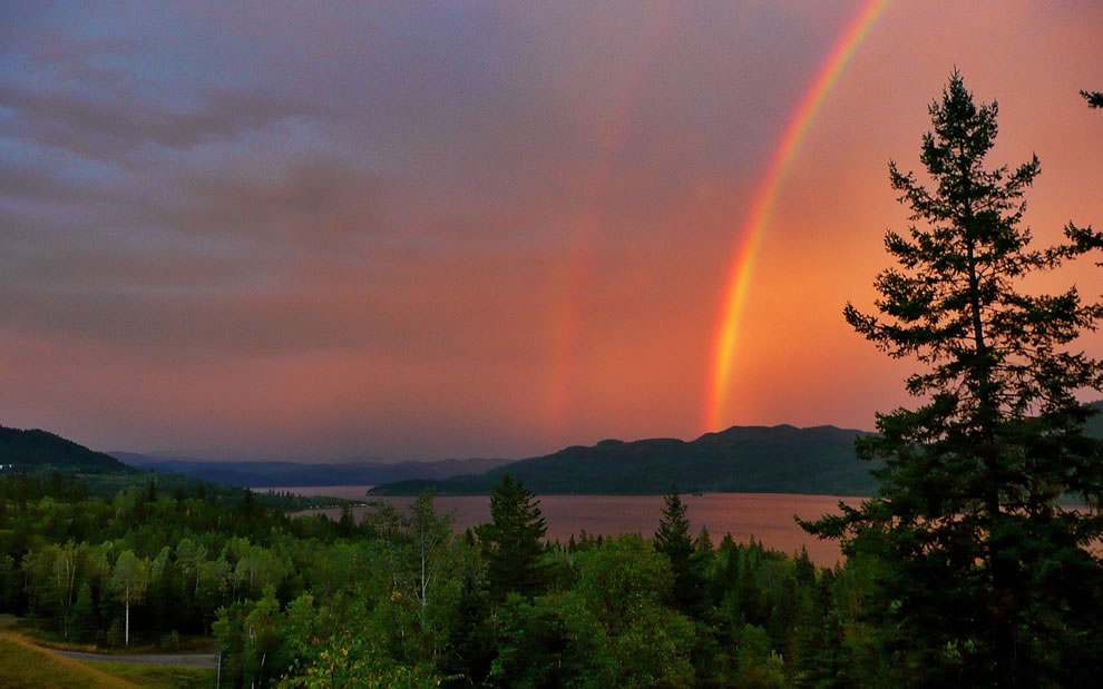 Red Thunderstorm Rainbow over Canim Lake