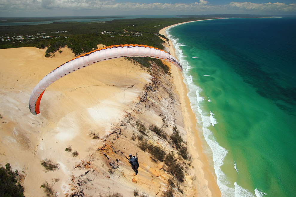 Riding the wind at Rainbow Beach, Queensland, AU