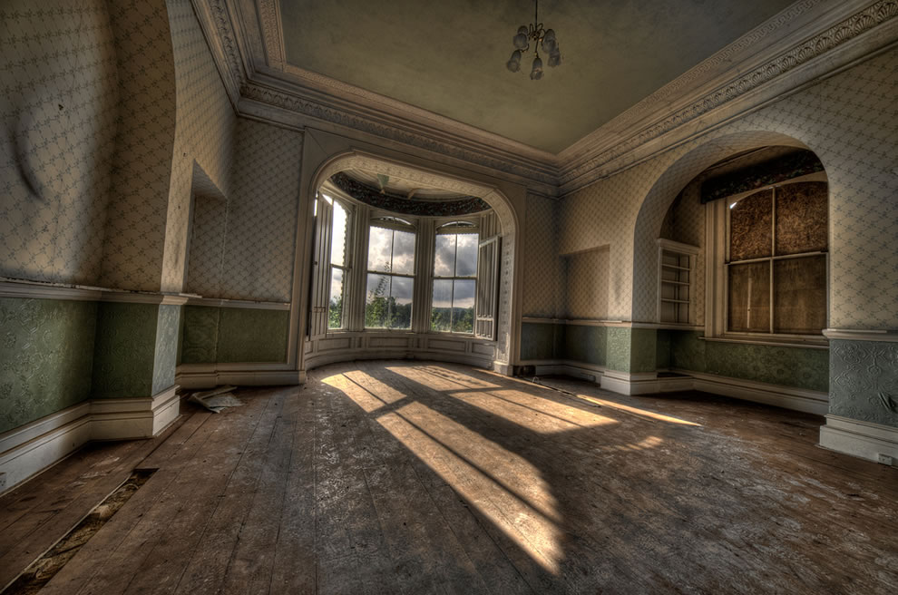 Sunlight streaming into Abandoned Girls School