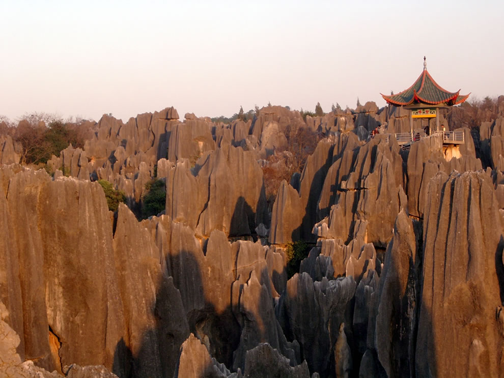 Sunshine and Shilin Stone Forest, China