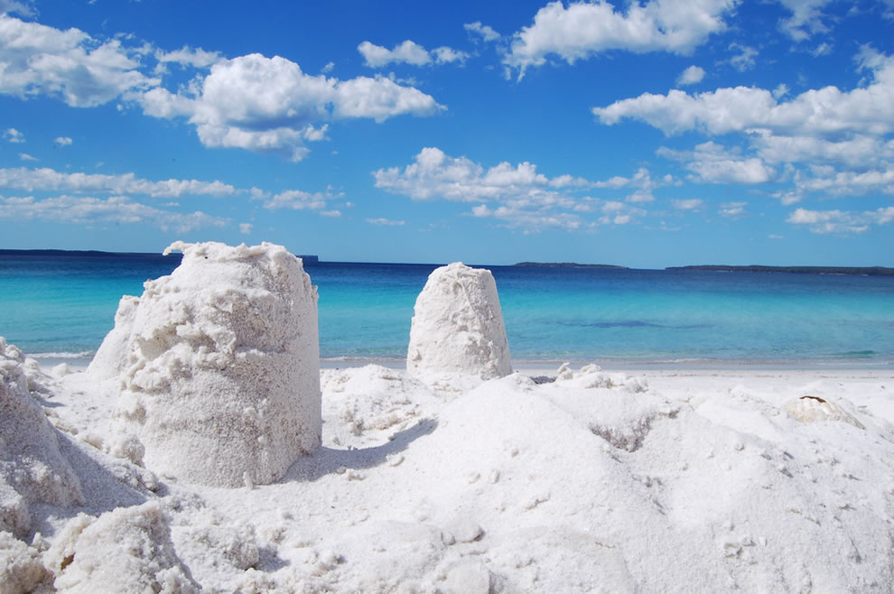 The startling white sands of Hyam's Beach, in New South Wales, Australia, the whitest sand in the world