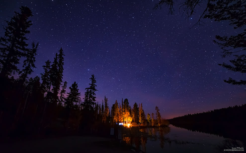Distant campfire, Thompson-Nicola, British Columbia, Canada