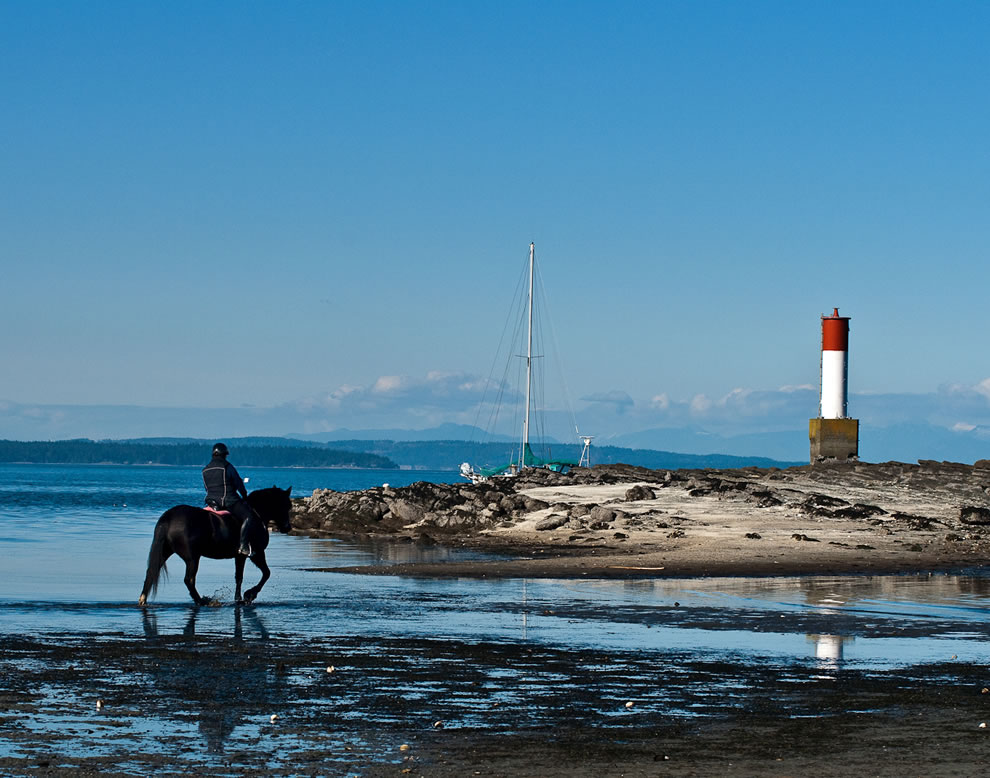 Horseback Riding along the Beach, lighthouse and sailboat in background