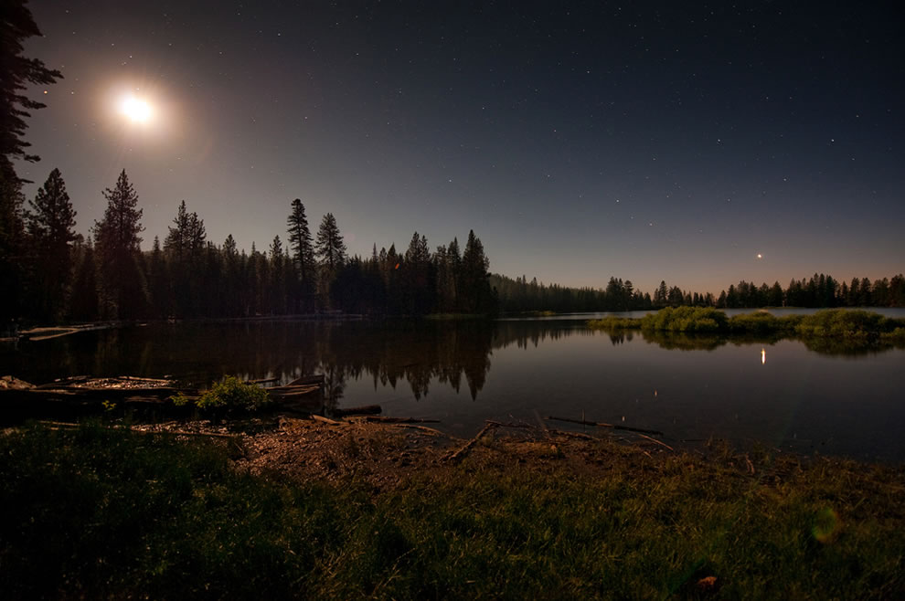 Manzanita Lake by moonlight