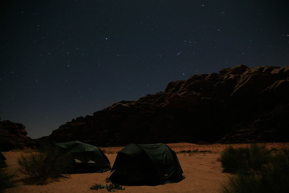 Night in Wadi Rum, under the desert camp in Jordan