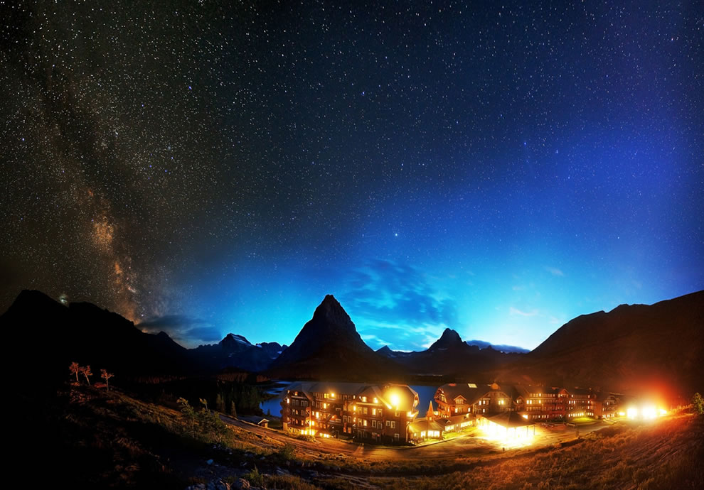 Night panorama at Glacier National Park, Montana