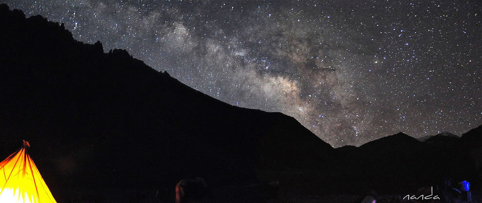 Out of the world is this, camping under the starry sky in Ladakh, India