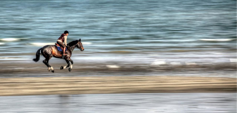 Pegasus, a horse and its horsewoman running (flying) on the beach of Deauville, France