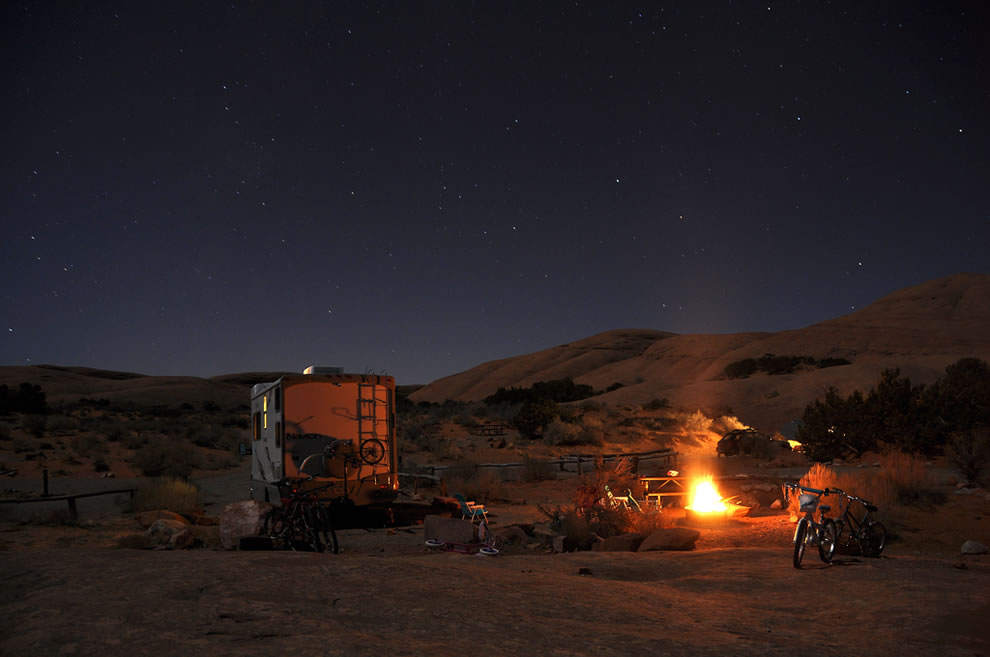 Winter night camp near Moab, Utah