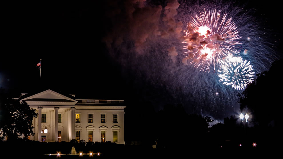 4th of July Fireworks and White House, Washington DC