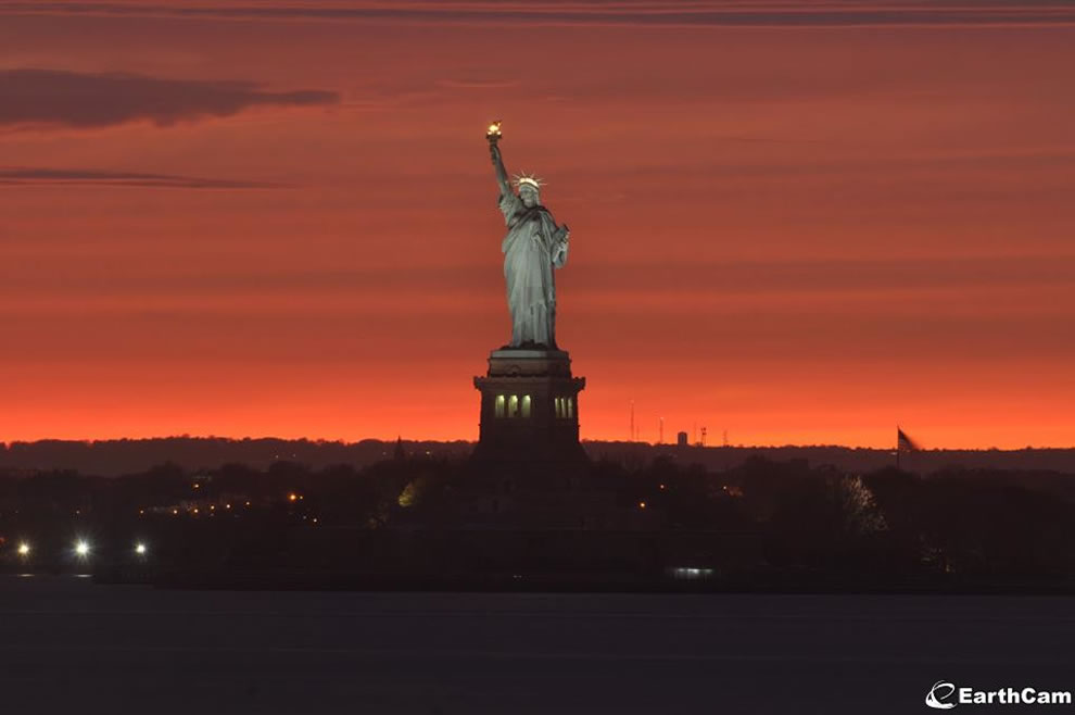 A beautiful Liberty Island sunset