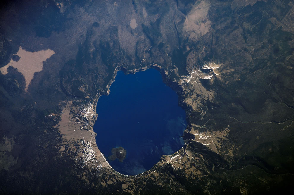 Aerial of Crater Lake National Park in Oregon