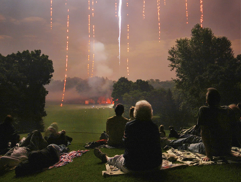 Americans enjoying America's Birthday and fireworks
