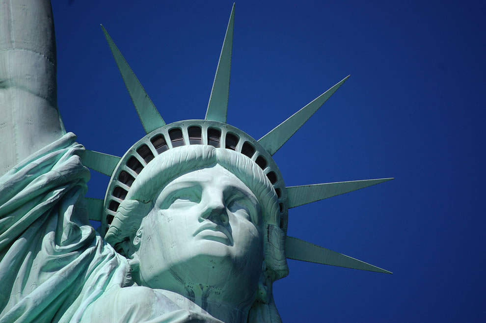 Closeup of Statue of Liberty's face