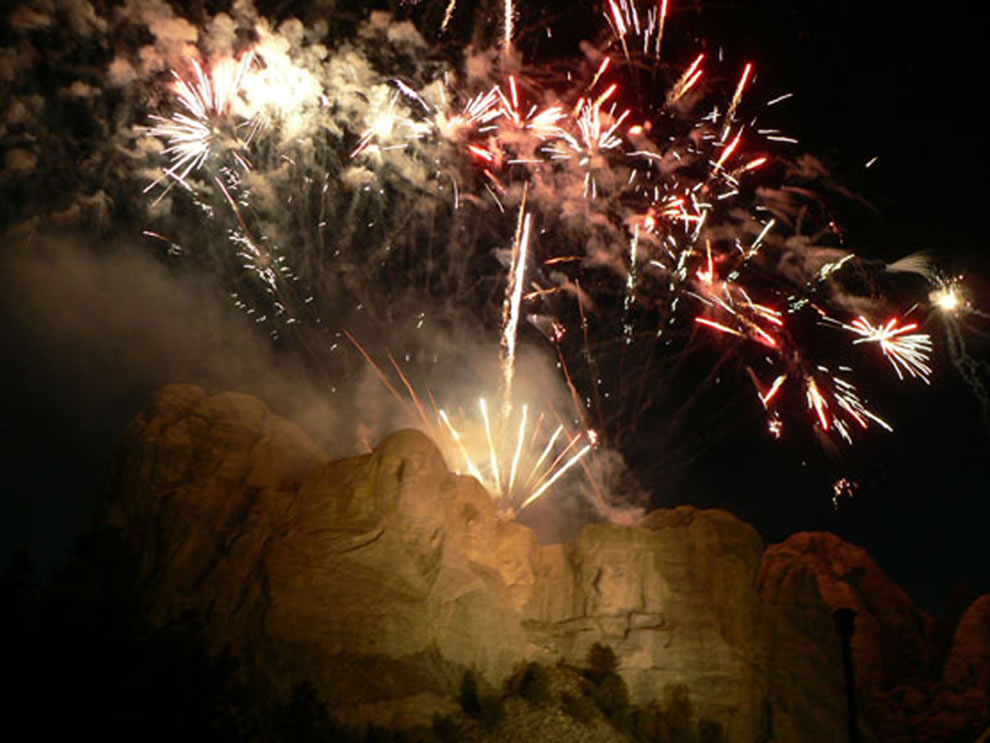 Fireworks at Mount Rushmore National Memorial ended a day full of patriotic entertainment and celebrations