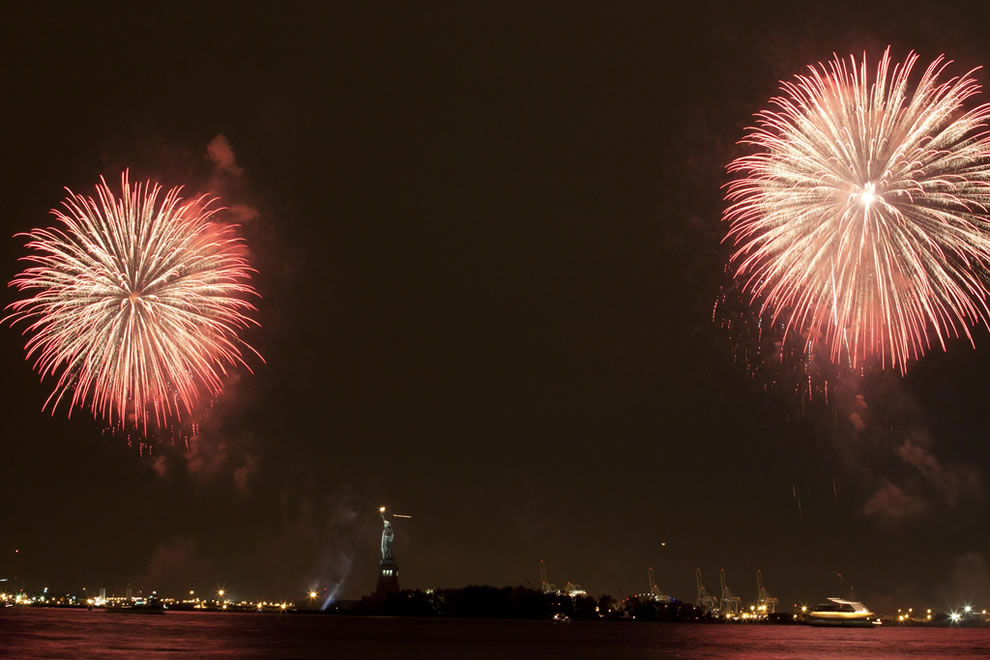 Fireworks display over Statue of Liberty