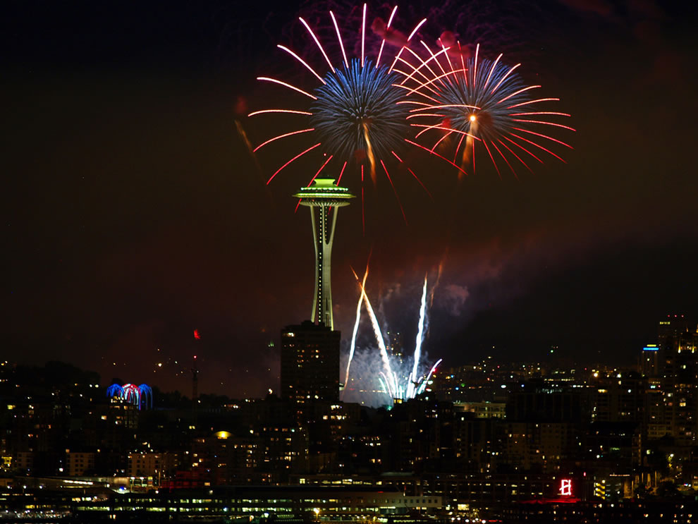 Fourth of July fireworks at the Seattle Space Needle