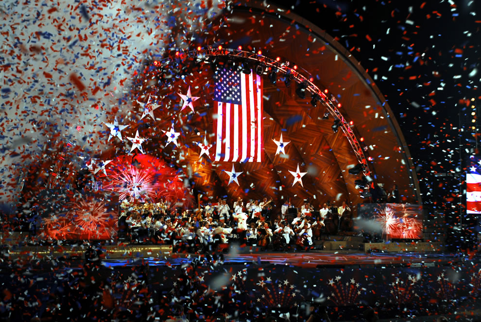 In Boston, confetti rains down at the completion of the song Stars and Stripes Forever on Independence Day