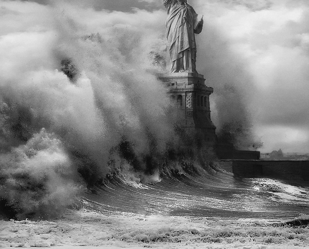 Liberty attacked by waves and storm surge from Hurricane Sandy