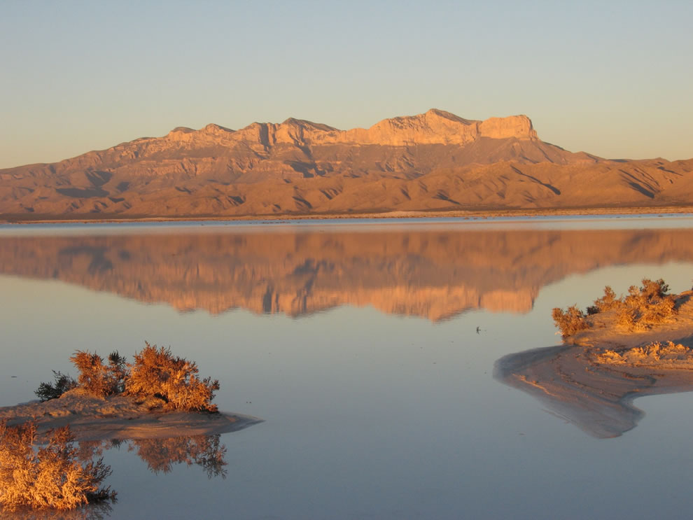 Mountain vista across the salt lake at Guadalupe Mountains National Park