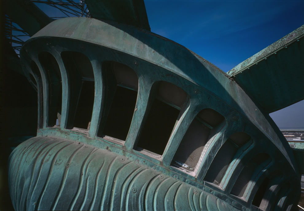 Observation windows in Statue of Liberty's tiara, circa 1985