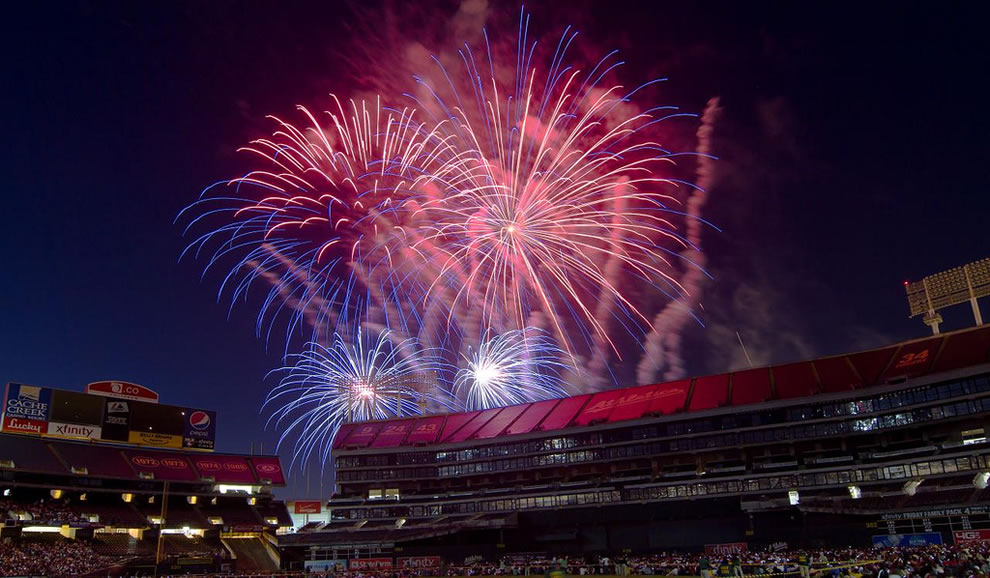 San Francisco, baseball field and fireworks