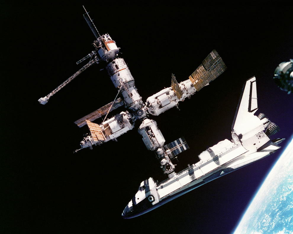 Space Shuttle Atlantis connected to Russia's Mir Space Station