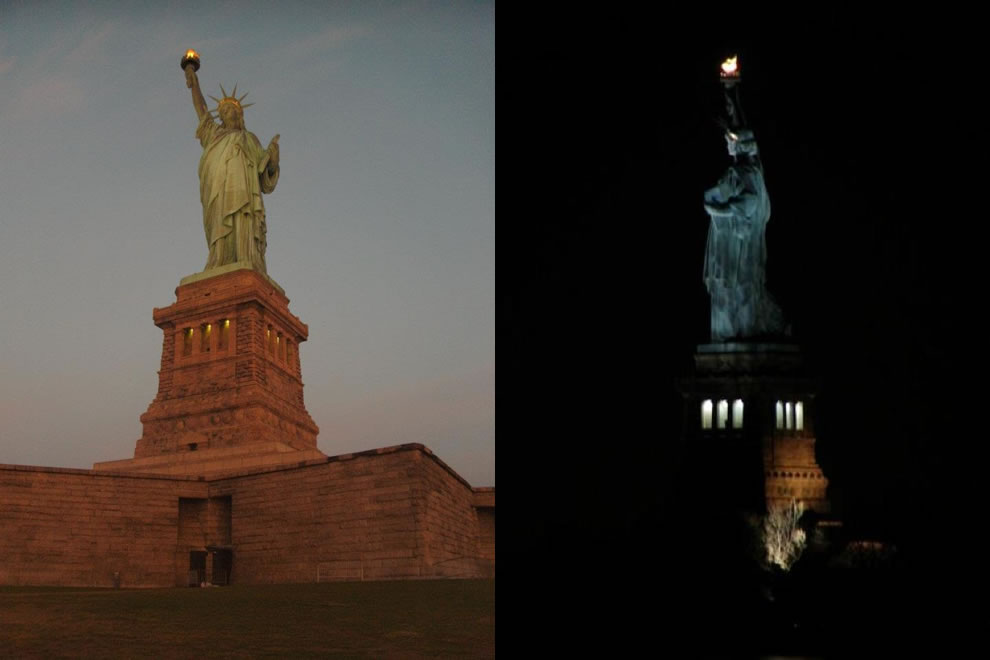 Statue of Liberty National Monument at dusk and night