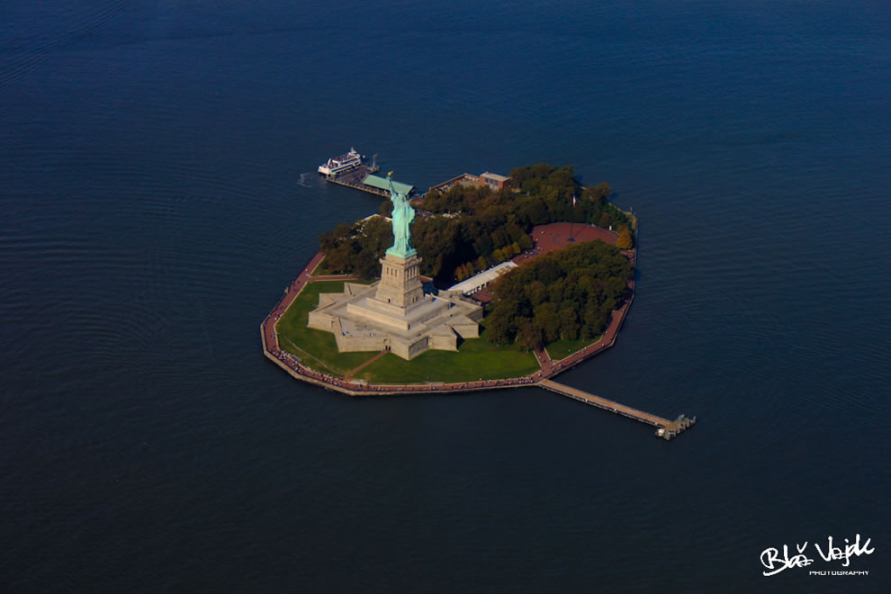 Statue of Liberty and Liberty Island from sky