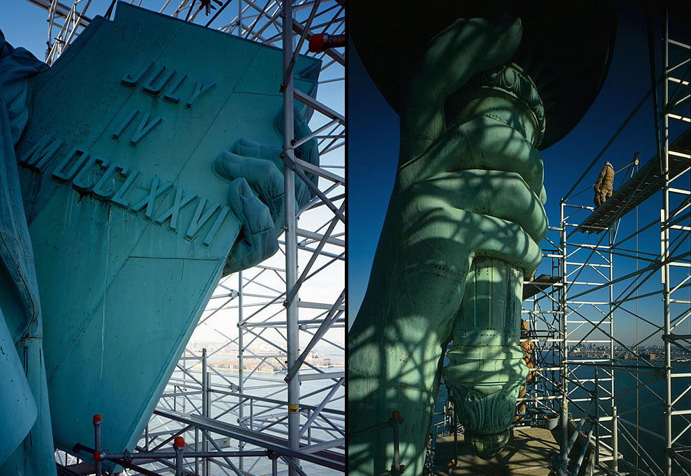 Statue of Liberty tablet and torch in 1985 during repairs