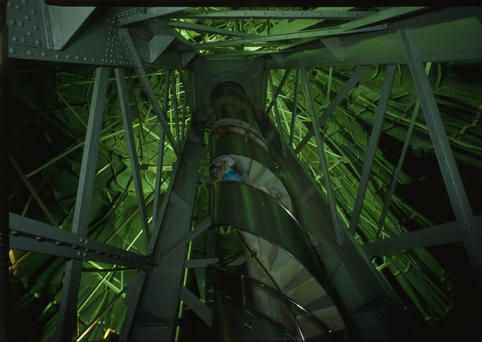 View up staircase of the interior of Statue of Liberty main frame, circa 1988