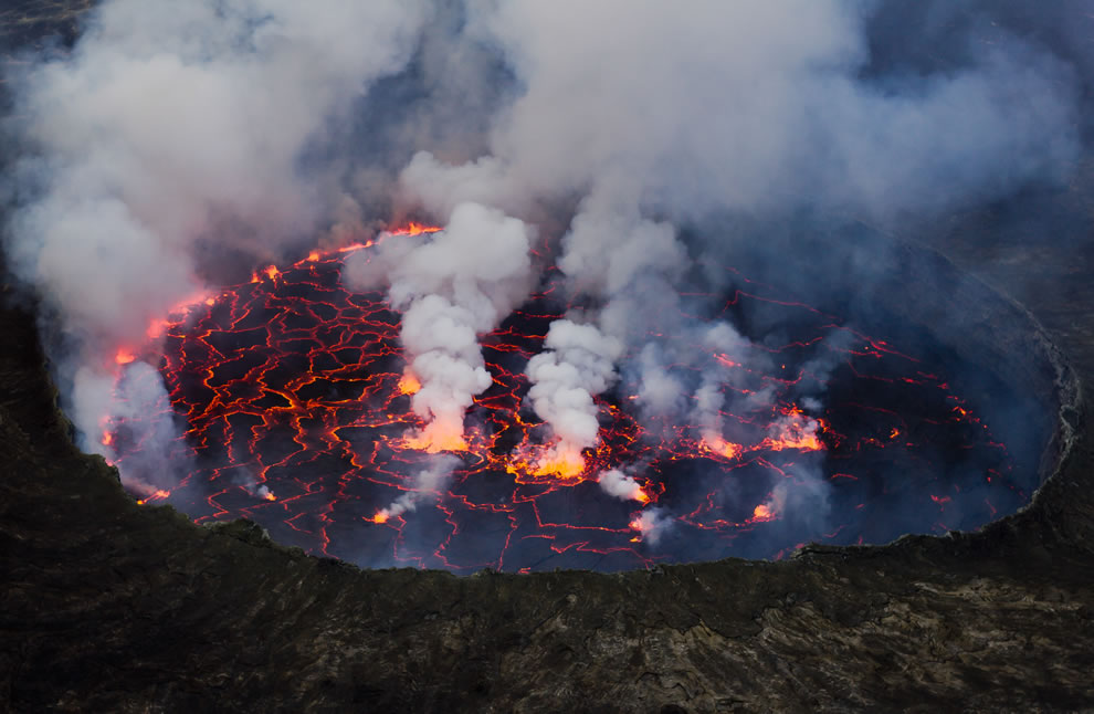 The Lava Lake of the Nyiragongo Volcano, one of the spectacular sights of Virunga NP