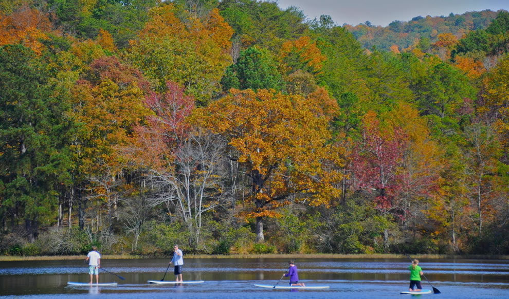 A group of paddleboarders pass in front of bright fall foliage at Oak Mountain State Park in Birmingham, Alabama