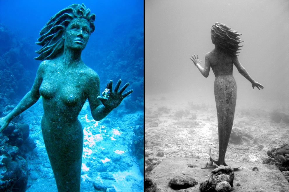 Cayman Island bronze mermaid underwater sculpture Amphitrite is 9 feet tall and 600 pounds