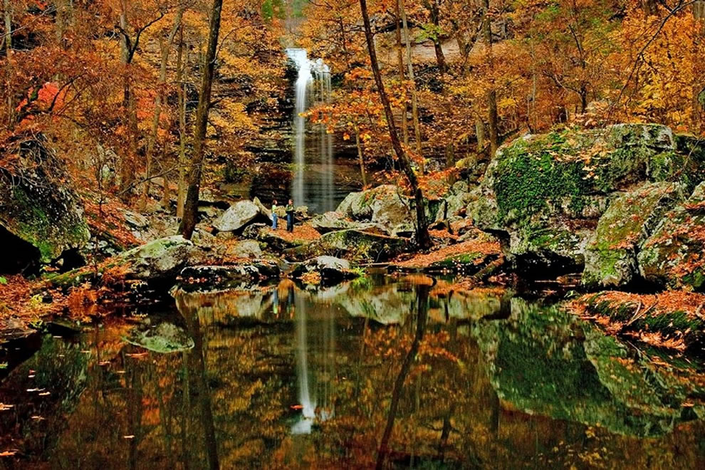 Fall foliage and waterfall, autumn in Arkansas at Petit Jean State Park, part of the Ozarks