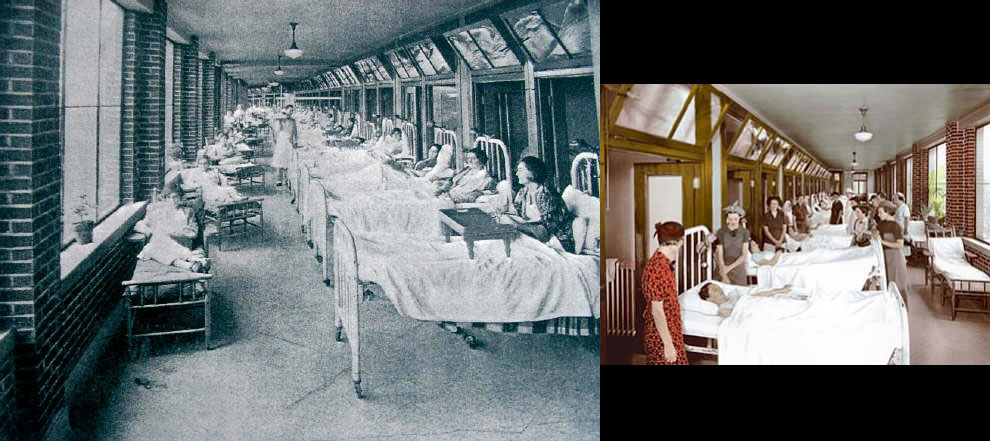 Historical photos of women patients and visitors at Waverly Hills Sanatorium