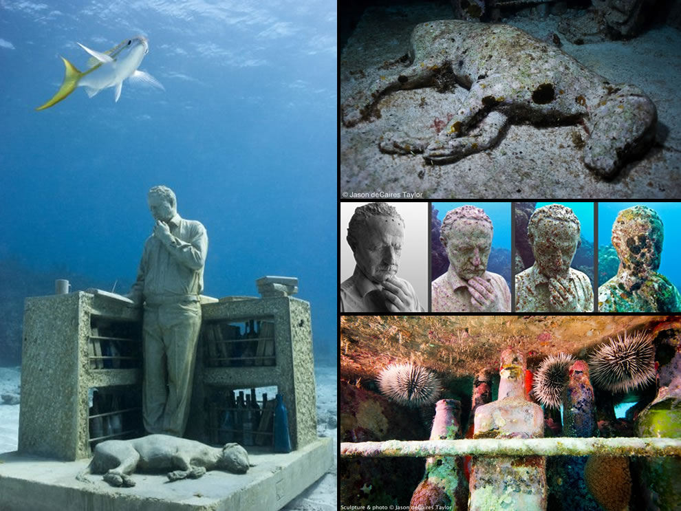 Jason deCaires Taylor's The Dream Collector underwater sculpture at the Cancun Underwater Museum