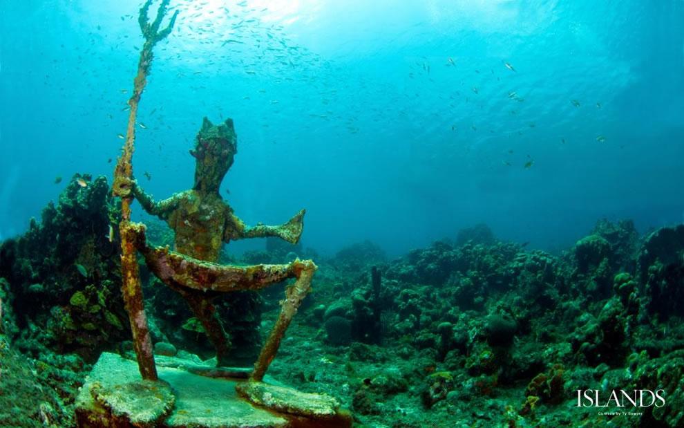 King Neptune sculpture at Playa Piskado, Curacao