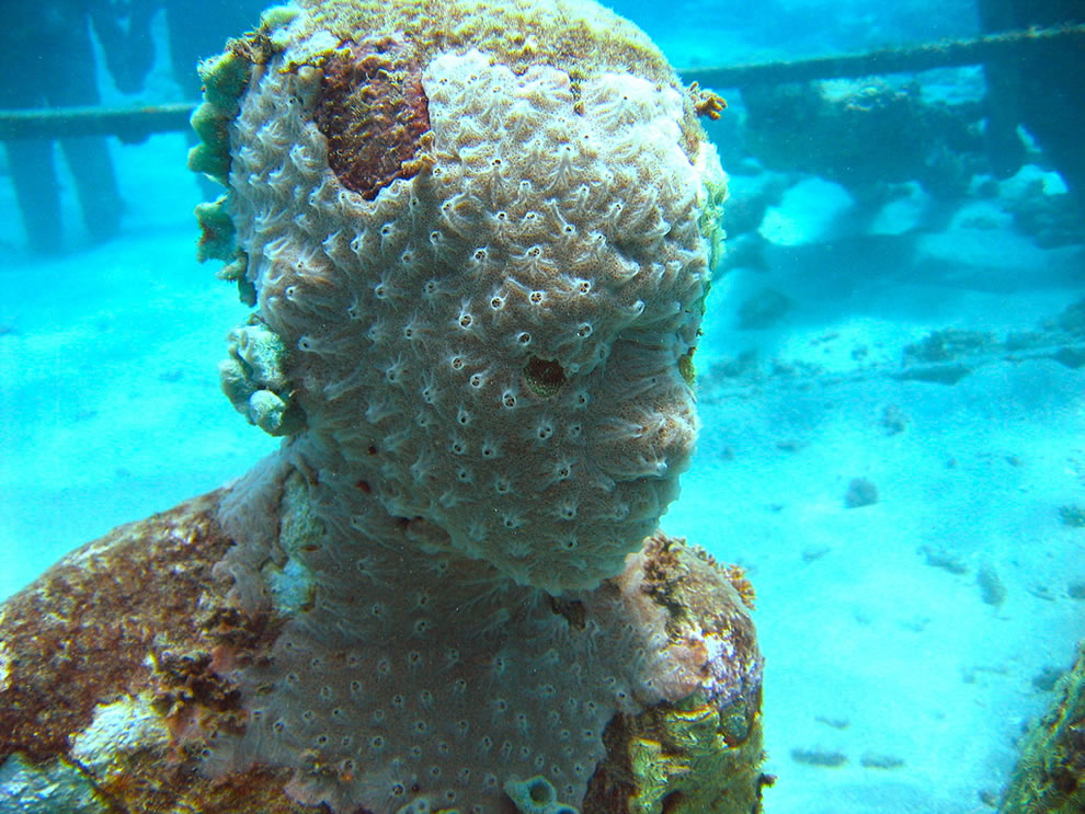 Underwater sculpture, man-made coral reef in Dragon Bay, Grenada