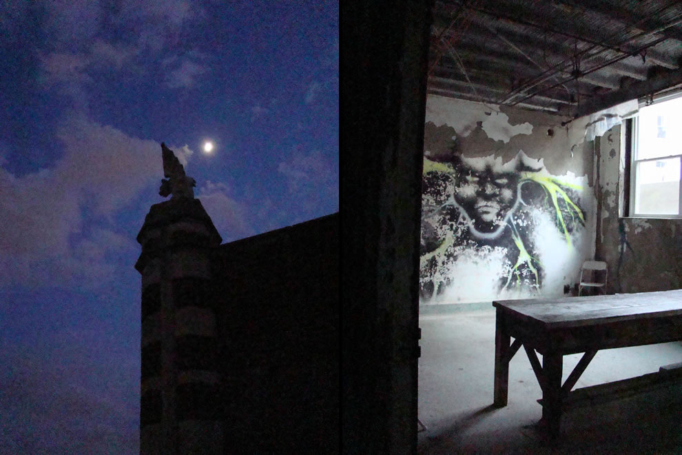 Waverly Hills moon, gargoyle and graffiti